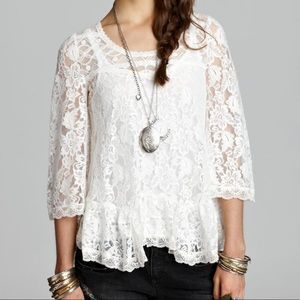 Free People | Scallop Lace Top in Lily Off White M